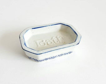 Blue & White Speckled Stoneware Soap Dish