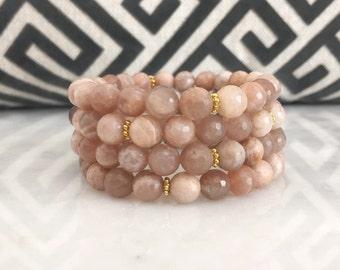 Sunstone Bracelet, Gemstone Stretch Bracelet, Peach Sunstone