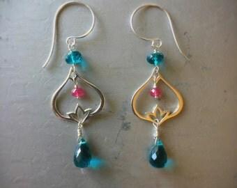 Cheerful Teal Quartz and Thai Ruby Earrings