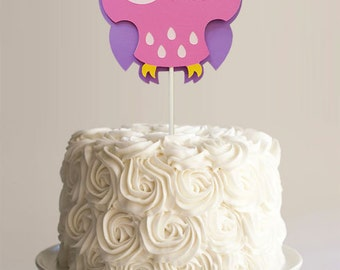 Pink cute owl baby shower birthday cardstock cake topper
