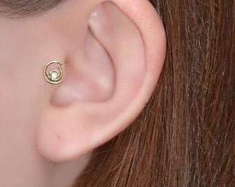 2mm White Topaz Tragus Stud - Gold Nose Piercing - Cartilage Stud - Tragus Ring - Nose Screw - Helix Stud - Nose Stud - Tragus Earring 20g