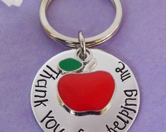 Teacher Gift - Teacher Keyring - Thank You Keychain - End of Year Gift - Thank You For Helping Me - Assistant Gift - Teacher Appreciation