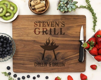 Personalized Cutting board, Fathers Day Grill Board, Dads BBQ, Grill Master, Dad Cutting Board engraved Engraved Walnut  --21157-CUTB-002