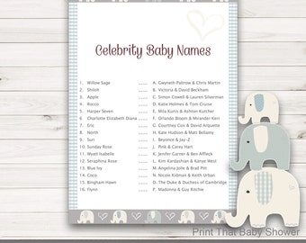 Baby Shower Games - Celebrity Baby Names Game - Elephant Baby Shower - Elephant Shower Games - Baby Names Game - Elly Patches