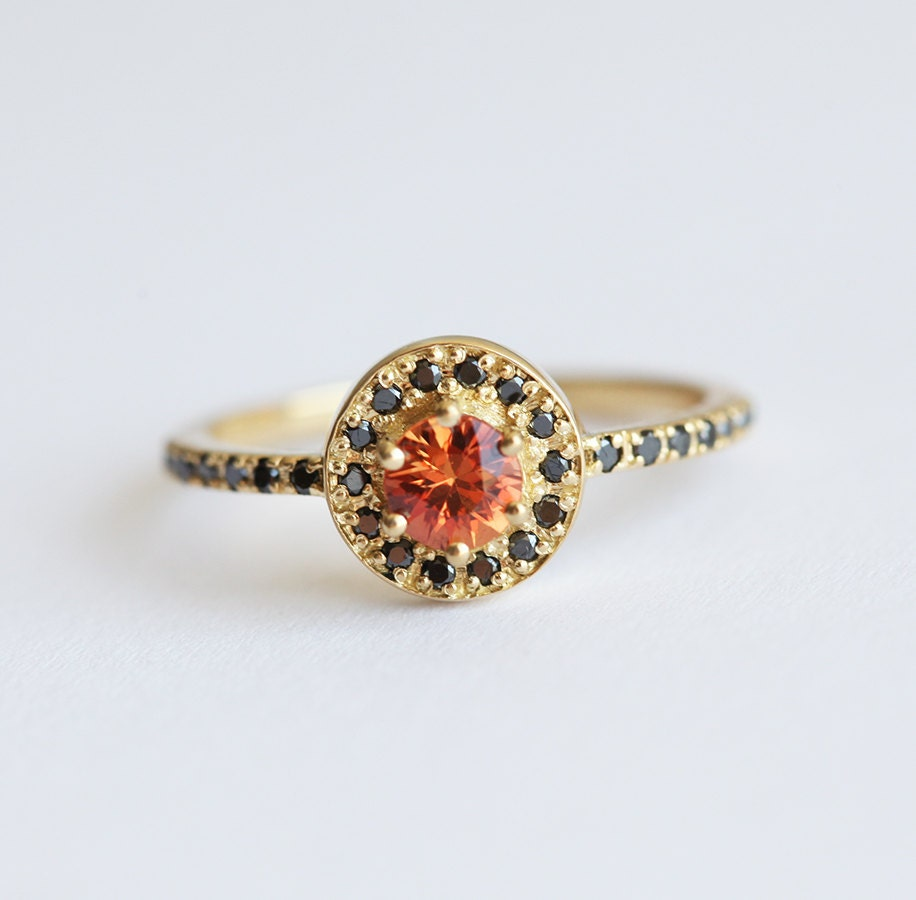 orange sapphire ring orange engagement ring black