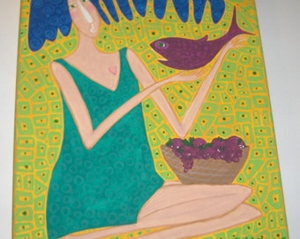 She Who Loves and Nurtures woman goddess mother fish fruit painting abstract whimsical naive outsider folk art OOAK original art by micki