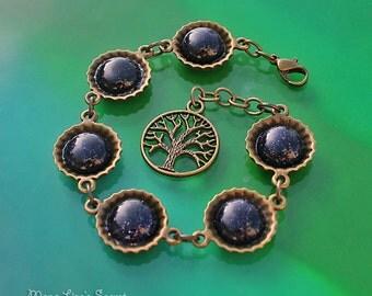 Bronze Tree of Life Blue Goldstone Bracelet, Goldstone Galaxy Bracelet, Blue Goldstone and Bronze Bracelet, Mother's Day Gift