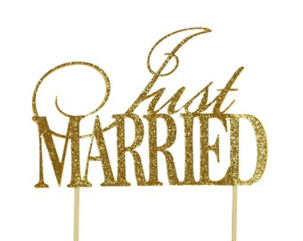 Gold Just Married Cake Topper, 1pc
