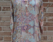 Pink Damask Mosaic Pattern Vintage Tunic, Ethnic Top, Indian dress, Hippie shirt, Boho clothing, Gypsy clothing, Tribal shirt, Festival top