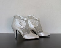 White Ivory Ankle Boots High Heel Leather and Lace Wedding Shoes Bridal Size 39