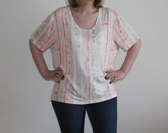 Plus Size Top Pink Short Sleeve Top Summer Blouse Peach Shirt  Plus Size Extra Large