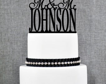 Same Sex Wedding Cake Topper with Custom Last name, Same Sex Topper in Modern Font, Available in 15 Colors and 17 Glitter Options- (T165)