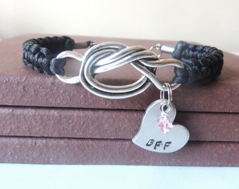 BFF Crystal Birthstone Hand Stamped Love Knot Bracelet You Choose Your Birthstone Charm and Cord Color(s)