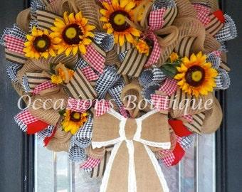 Burlap Summer Wreath, Spring Wreath, Sunflower Wreath, Front door Wreaths, Wreath for door, Door Hanger, Ready to Ship