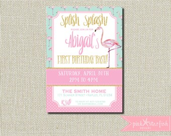 Flamingo Birthday Invitation, Flamingo Invitation, Pool Party Invitation, Pink and Mint Invitation, Pink Flamingo, Glitter, Pink and Gold