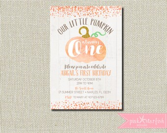 Pumpkin Birthday Invitation, Pumpkin Birthday, Pumpkin Invitation, Our Little Pumpkin, First Birthday Invitation, Halloween Birthday, Glam