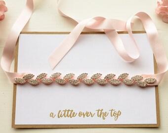 Elegant Crystal Bridal Garter with Glistening Rhinestone Leaves and Blush Pink Silk Ribbon