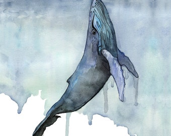 """XLARGE Watercolor Whale Painting - Sizes 16x20 and up, """"Fathoms Below"""", Whale Nursery, Whale Art, Whale Print, Humpback Whale, Beach Decor"""