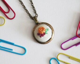 Hand Embroidered Necklace Pendant -  Bright Orange Rose - Floral Flowers - Antiqued Bronze Gold