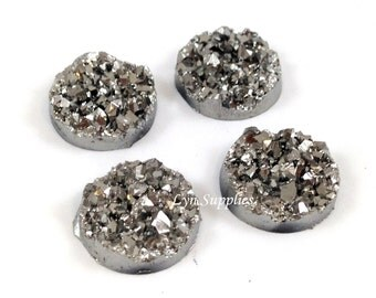 12mm Silver Grey Round Faux Druzy Cabochons 6pcs