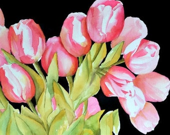 Tulip Art Watercolor Painting,Fuschia Painting,Pink Flower Art,Black Background,Dark Pink Painting, Fuchsia Picture,Feminine,Colleen's Tulip