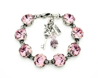 CRYSTAL ANTIQUE PINK 12mm Cushion Cut Pendant Bracelet Made With Swarovski Elements *Pick Your Finish *Karnas Design Studio *Free Shipping*