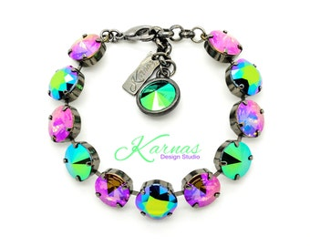 SCARABAEUS & PURPLE HAZE 12mm Cushion/Rivoli Bracelet Made With Swarovski Elements *Pick Your Finish *Karnas Design Studio *Free Shipping