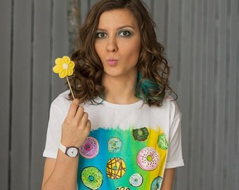 Hand painted White T-shirt with sweets, Colorful Women t-shirt: Donuts Universe