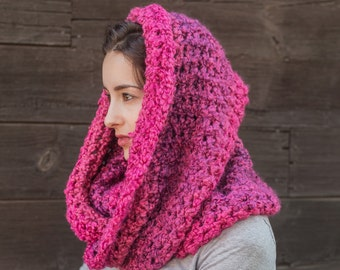 Pink Infinity Scarf // Gifts for Her // Vegan Cowl Scarf // THE MADELEINE shown in Wildberries