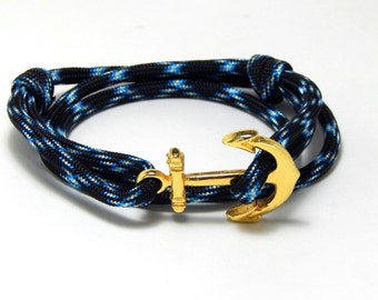 Men's women's nautical anchor bracelet lightning gold tone anchor adjustable