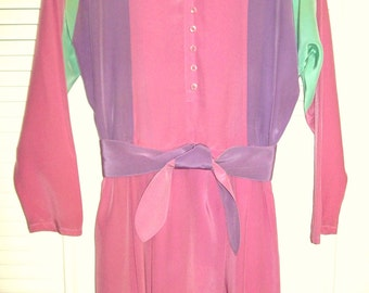 Vintage Lillie Rubin Heavenly Pastel Silk Dress.  Pink, lilac, pistachio dream  Size 8