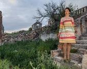 Vestido evasé con estampado paisaje La Mancha (antes 215 euros)