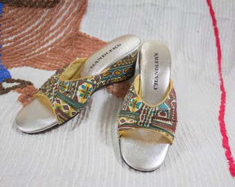 60s Tribal Sandals | 60s Slip on Shoes | 60s Tiki Shoes | 60 Tropical Shoes | 60s High Heel Sandals | 60s Boudoir Shoes | 60s Heels | 5 US