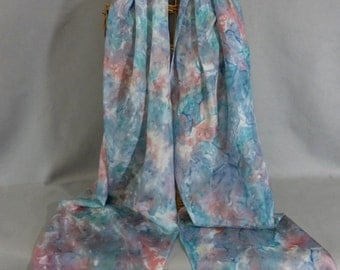 """Silk Scarf (Extra Large) """"Painted Desert--Sage Green, Blue, and Rose"""", Hand Painted  Silk Scarf, Pastel Silk Scarf"""
