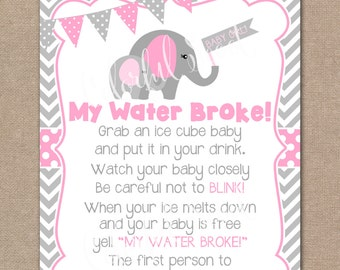 INSTANT DOWNLOAD, Elephant Baby Shower My Water Broke Game, My Water Broke,  Baby