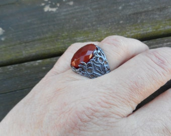 Red onyx ring, red onyx rings, large onyx ring, large red rings, size 8 ring,medieval rings,red onyx jewelry,onyx rings,gothic ring,red ring