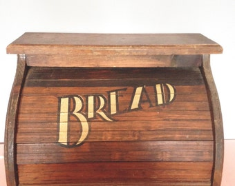Vintage 1960s WOOD BREAD BOX Rustic Country Rolltop