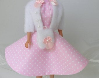 Collectible Barbie Clothes Handmade Rockabilly Barbie Dress Set Modest Barbie Clothes 50s Style Fashion Doll Clothing Pink Polka Dot Dress