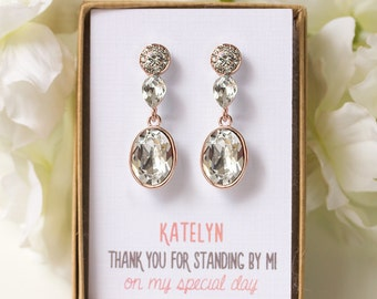 Bridesmaid Earrings Long Drop Earrings Wedding Jewelry Personalized Bridesmaids Gifts Swarovski Earrings Rose Gold Drop Earrings E349RG