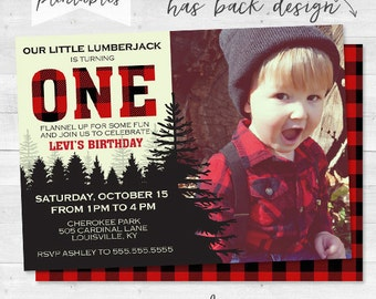 Our Little Lumberjack Birthday Invitation - Flannel Up for Some Fun - Personalized Photo Card Invite - Red and Black - Plaid  - Digital File