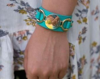 Monogrammed Heartstrings Leather Bracelet