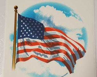 American Flag Edible Image Cake Topper