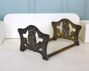 Brass Owl Expandable Bookends Art Nouveau