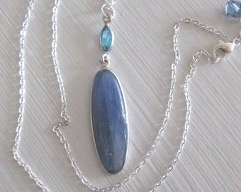 Necklace ~ Kyanite stone w/ Blue Topaz  Sterling Silver Pendant & Chain   18""
