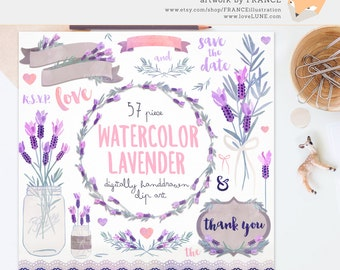 GET 3 FOR 2. Lavender Clipart. Watercolor Lavender. Wreaths, Banners. Watercolour Flowers. Digitally Handdrawn Clipart. Watercolor Wedding.