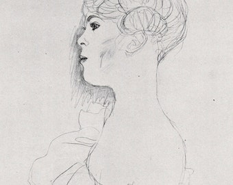 1972 Gustav Klimt print of pencil and crayon drawing of profile of a seated woman with bare shoulders, matted for framing, 8 x 10 inches