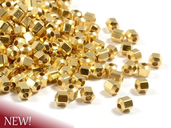 Hexagon Gold Beads, Hexagon Faceted Spacer Beads, Metal Beads, 4mm with 1.5mm Hole in 22K Gold Plating  - 25 pcs/ pkg