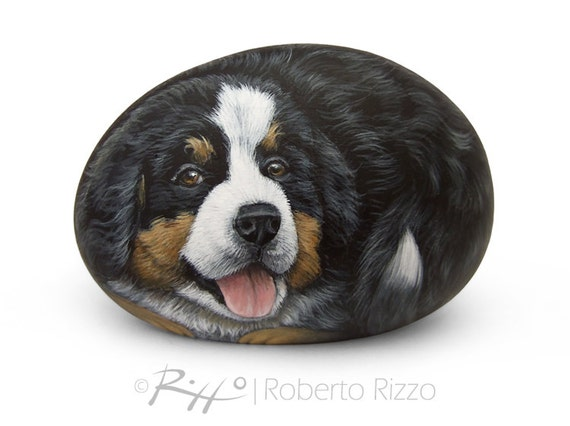 cucciolo del cane di montagna di bernese dolce dipinto su una. Black Bedroom Furniture Sets. Home Design Ideas