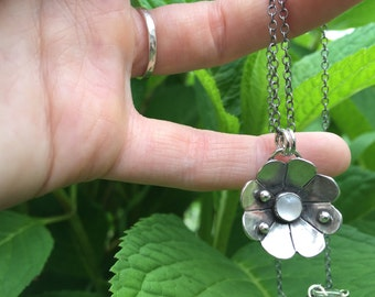 Moonstone Wildflower Necklace in Sterling Silver, Wildflower Necklace {READY TO SHIP}