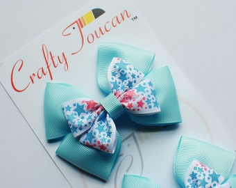 Blue and Pink Stars Everyday Hair Bow for Toddlers/girls